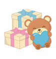 toy bear with heart and gift boxes vector image