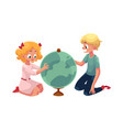 two kids children studying a globe together vector image vector image