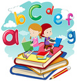 Two kids reading books together vector image vector image
