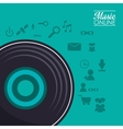 Vinyl and music online design vector image