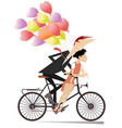 young couple rides on the bike vector image vector image