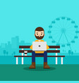 young freelancer working with laptop in park vector image vector image