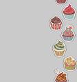 Cupcake pattern border vector image