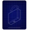 3d model of the padlock on a blue vector image vector image