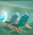 airplane cabin view passenger seat and porthole vector image vector image