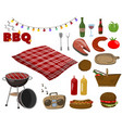 barbecue and grill collection set picnic food vector image vector image
