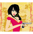 Beautiful sexy girl holding gun vector image