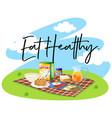 breakfast set and word eat healthy vector image vector image