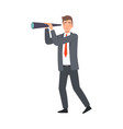 business vision with businessman with telescope vector image vector image