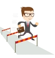 Businessman jumping over hurdles vector image