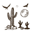cacti and silhouettes ravens set vector image