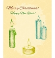 card with hand drawn candles on patterned vector image vector image