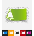christmas bell paper sticker with hand drawn vector image vector image
