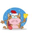 Christmas cow cartoon vector image vector image