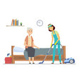 cleaner helping senior woman - flat design style vector image vector image
