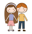 colorful caricature couple kids in casual clothes vector image vector image