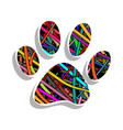 colorful paw print vector image vector image