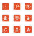 date icons set grunge style vector image vector image