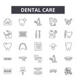 dental care line icons signs set outline vector image vector image