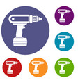 electric screwdriver drill icons set vector image vector image
