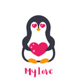 emoji with cute pinguin in love over white vector image