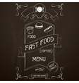 Fast food on the restaurant menu chalkboard vector image vector image