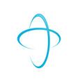 global blue cross swoosh symbol design vector image