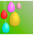 Green Paper Card with Striped Easter Eggs vector image vector image