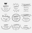 hand drawn happy birthday typographic set vector image vector image