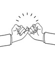 hands making promise outline sign vector image vector image