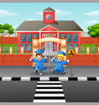 happy graduation kids in front school vector image vector image