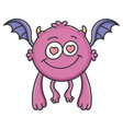 in love purple flying cartoon bat monster vector image vector image