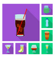 isolated object drink and bar sign set of vector image vector image
