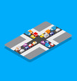 isometric crossroads traffic jam on street vector image vector image
