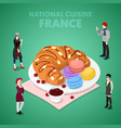 isometric france national cuisine with croissant vector image vector image