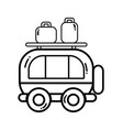 line van transportation with bags to travel vector image vector image