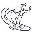 man surfing line icon sign vector image vector image