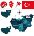 map of bursa turkey with districts vector image vector image
