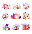 online education isolated abstract icons web books vector image vector image