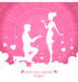 pink card with silhouette of guy and girl vector image vector image