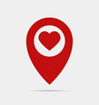 pointer gps map with heart vector image vector image