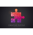 Puzzle logo Creative logo of puzzle pieces Color vector image