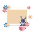 rabbit gift label easter vector image vector image