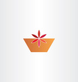 red flower in pot abstract icon vector image vector image