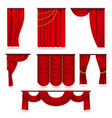 red velvet stage curtains scarlet theatre drapery vector image vector image