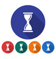 round icon of hourglass flat style with long vector image