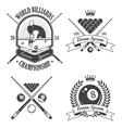 set billiards emblems labels and designed eleme vector image