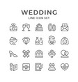 set line icons wedding vector image vector image