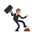 step into shit businessman goes and turd bad day vector image