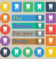 tooth icon Set of twenty colored flat round square vector image vector image